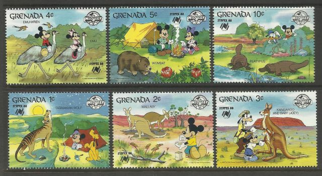 GRENADA 1988 SYDPEX DISNEY Wallaby Kangaroo Emu Wombat Platypus Wolf  Ornithorhynchus anatinus  zoological stamps  animals on stamps wildlife stamps Australian postage stamps topical stamp collection thematic stamp collecting mammals on stamps fauna on stamps philatelist  philatelic collection  philatelic collector stamp collecting for beginners Australian wildlife Australian fauna Australia topical stamp collecting