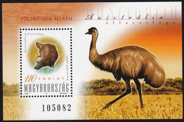 Hungary 2000 - Platypus and Emu  Ornithorhynchus anatinus  zoological stamps  animals on stamps wildlife stamps Australian postage stamps topical stamp collection thematic stamp collecting mammals on stamps fauna on stamps philatelist  philatelic collection  philatelic collector stamp collecting for beginners Australian wildlife Australian fauna Australia topical stamp collecting