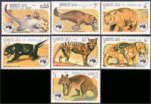 Laos Ausipex 84 Platypus Kangaroo Squirrel Australia animals   Ornithorhynchus anatinus  zoological stamps  animals on stamps wildlife stamps Australian postage stamps topical stamp collection thematic stamp collecting mammals on stamps fauna on stamps philatelist  philatelic collection  philatelic collector stamp collecting for beginners Australian wildlife Australian fauna Australia topical stamp collecting
