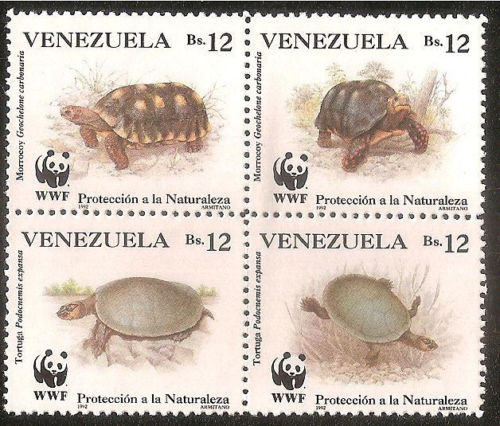 Venezuela   WWF STAMPS Turtles Block of four  issued 1992   World Wildlife Fund animals on stamps wildlife stamps  thematic stamp collection topical stamp collector fauna stamps reptile stamps turtle stamps Venezuela postage stamps stamp collecting is fun  wild animals collecting wildlife stamps    stamp collecting for the beginner